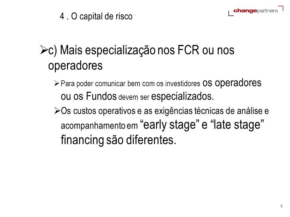 9 4. O capital de risco c) Mais especialização nos FCR ou nos operadores Para poder comunicar bem com os investidores os operadores ou os Fundos devem