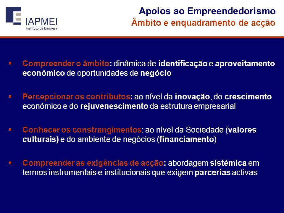 Apoios ao Empreendedorismo Âmbito e enquadramento de acção Compreender o âmbito: dinâmica de identificação e aproveitamento económico de oportunidades