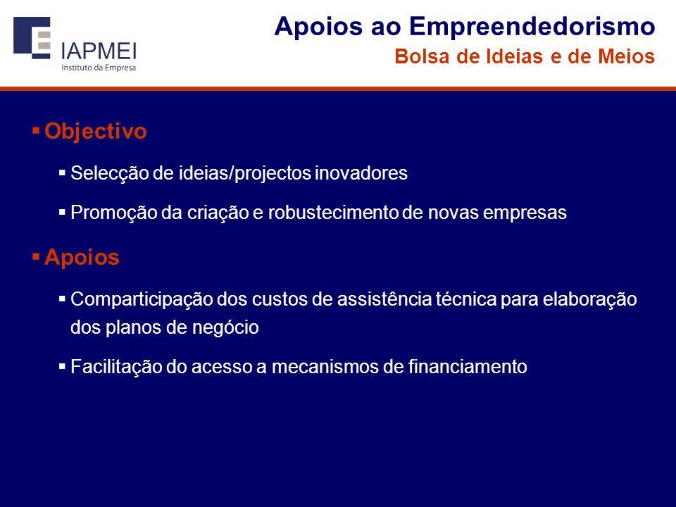 Apoios ao Empreendedorismo Bolsa de Ideias e de Meios Objectivo Selecção de ideias/projectos inovadores Promoção da criação e robustecimento de novas empresas Apoios Comparticipação dos custos de assistência técnica para elaboração dos planos de negócio Facilitação do acesso a mecanismos de financiamento