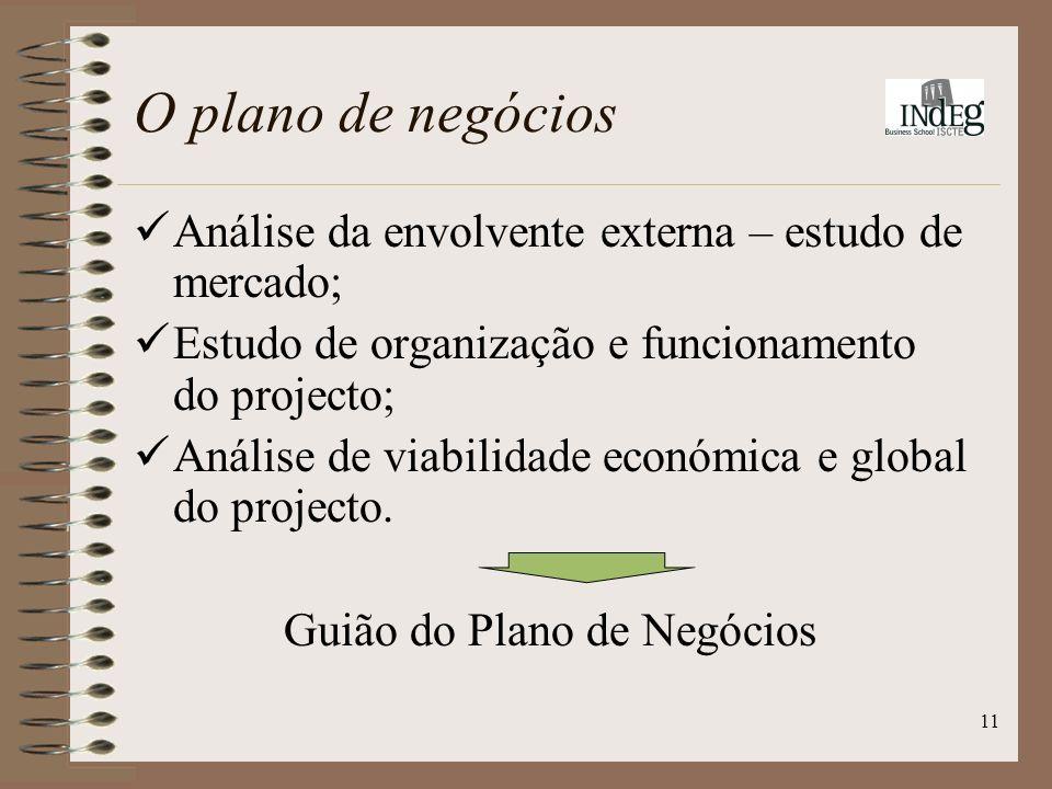 11 O plano de negócios Análise da envolvente externa – estudo de mercado; Estudo de organização e funcionamento do projecto; Análise de viabilidade económica e global do projecto.