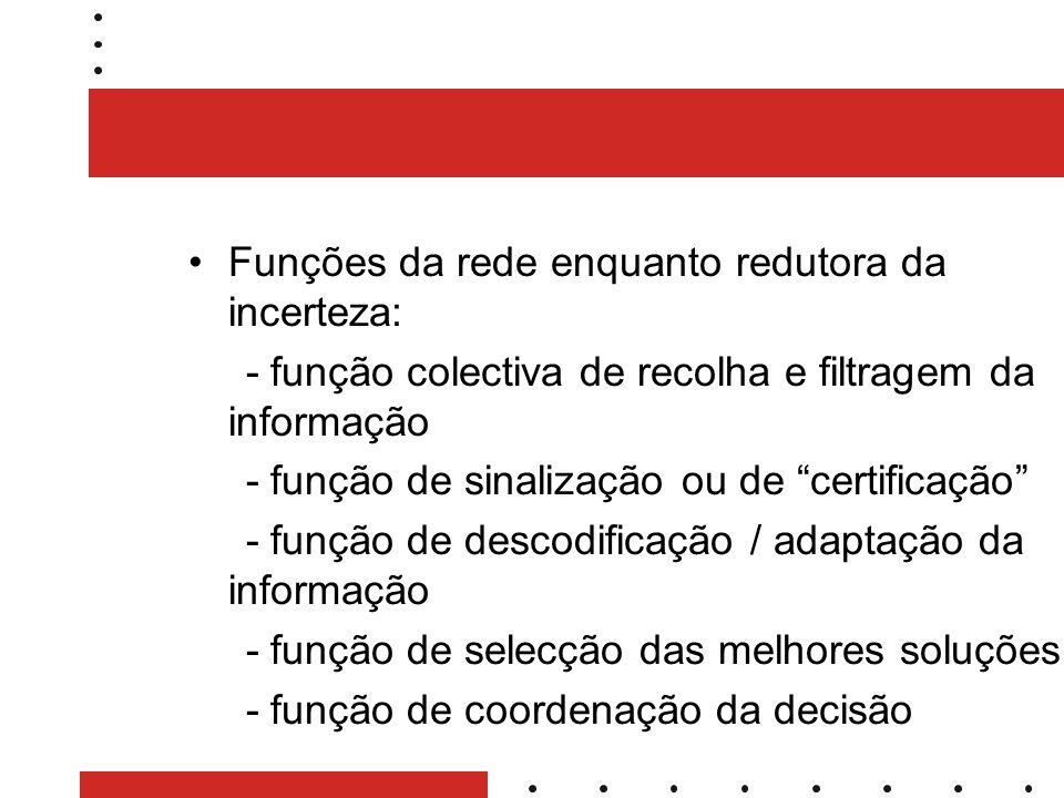 Funções da rede enquanto redutora da incerteza: - função colectiva de recolha e filtragem da informação - função de sinalização ou de certificação - função de descodificação / adaptação da informação - função de selecção das melhores soluções - função de coordenação da decisão