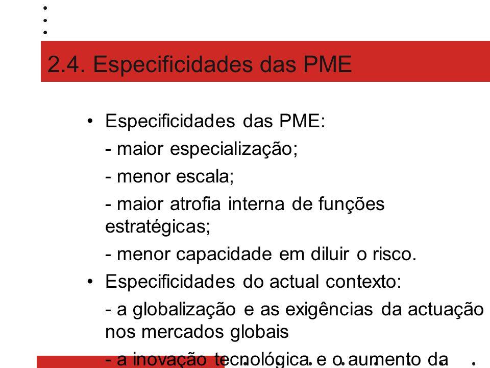 2.4. Especificidades das PME Especificidades das PME: - maior especialização; - menor escala; - maior atrofia interna de funções estratégicas; - menor