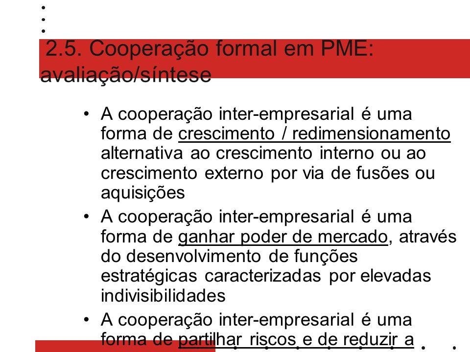 2.5. Cooperação formal em PME: avaliação/síntese A cooperação inter-empresarial é uma forma de crescimento / redimensionamento alternativa ao crescime