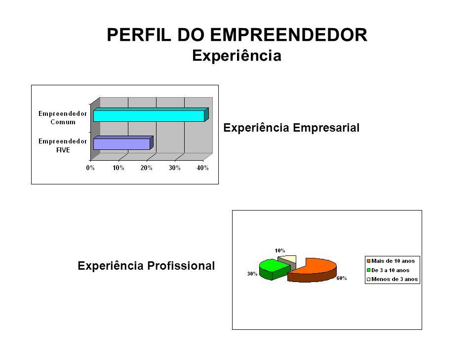 PERFIL DO EMPREENDEDOR Experiência Experiência Empresarial Experiência Profissional