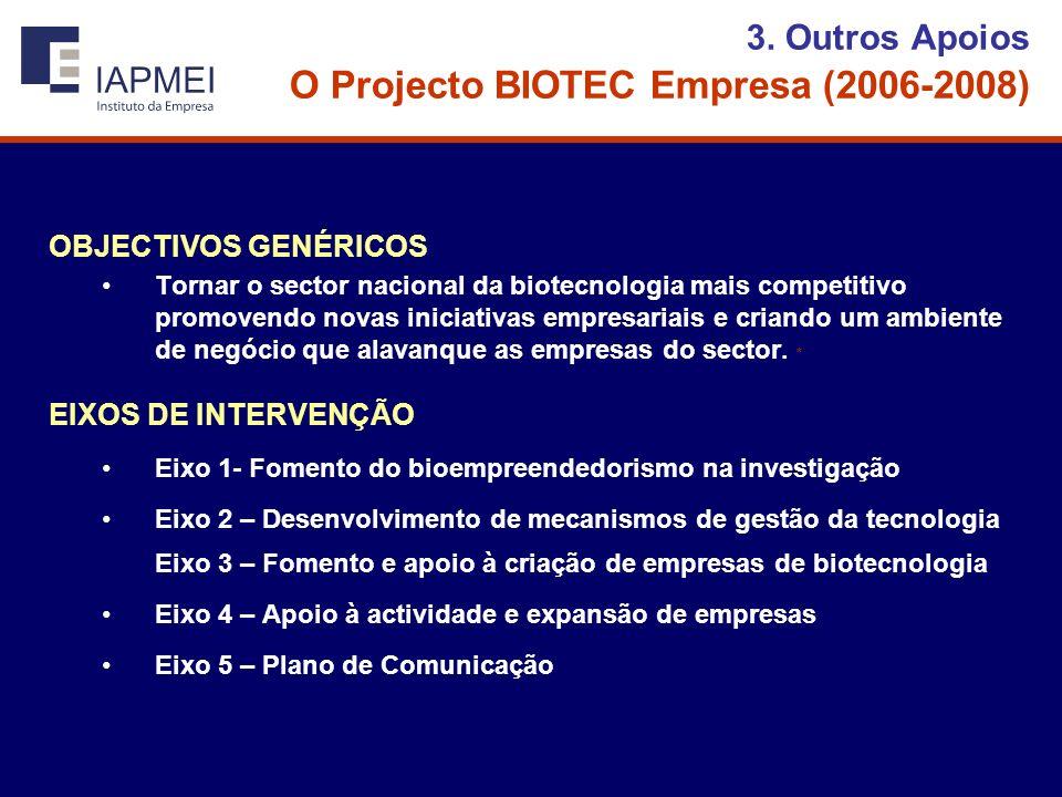 3. Outros Apoios O Projecto BIOTEC Empresa (2006-2008) OBJECTIVOS GENÉRICOS Tornar o sector nacional da biotecnologia mais competitivo promovendo nova