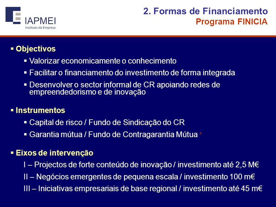 2. Formas de Financiamento Programa FINICIA Objectivos Valorizar economicamente o conhecimento Facilitar o financiamento do investimento de forma inte