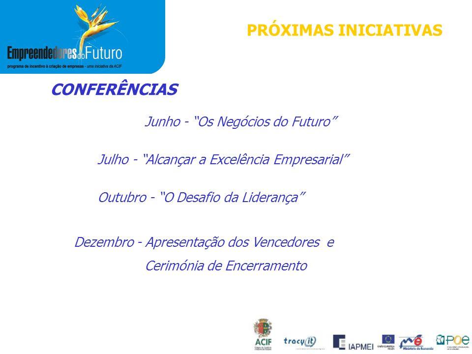 CONFERÊNCIAS Junho - Os Negócios do Futuro Julho - Alcançar a Excelência Empresarial Outubro - O Desafio da Liderança Dezembro - Apresentação dos Vencedores e Cerimónia de Encerramento PRÓXIMAS INICIATIVAS