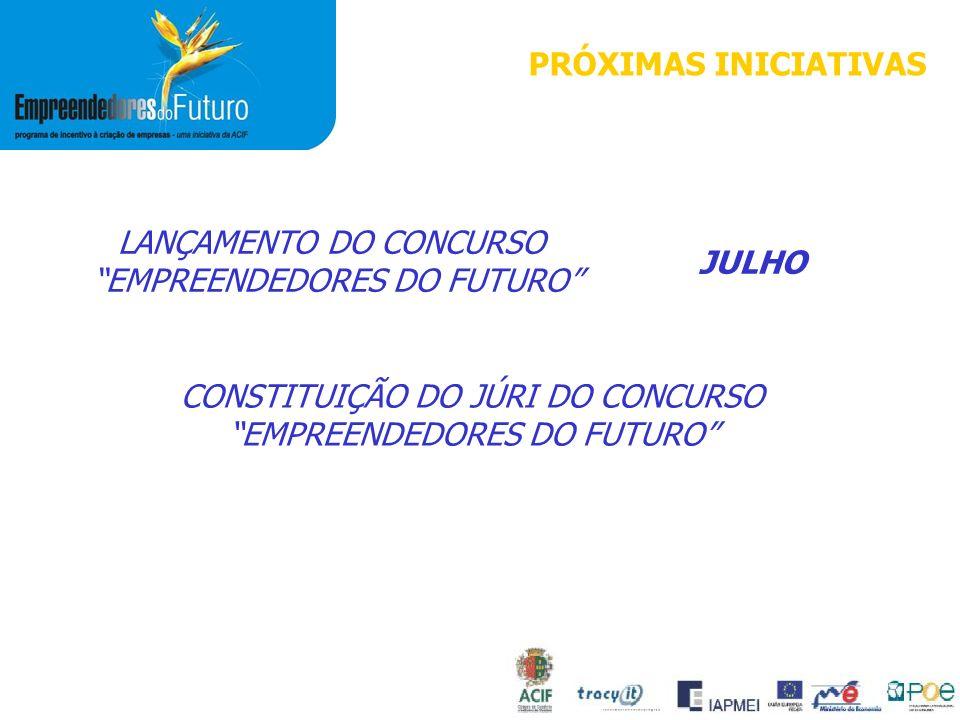 PRÓXIMAS INICIATIVAS LANÇAMENTO DO CONCURSO EMPREENDEDORES DO FUTURO JULHO CONSTITUIÇÃO DO JÚRI DO CONCURSO EMPREENDEDORES DO FUTURO