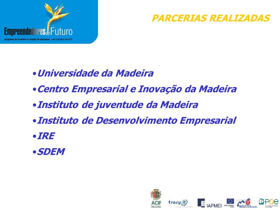 PARCERIAS REALIZADAS Universidade da Madeira Centro Empresarial e Inovação da Madeira Instituto de juventude da Madeira Instituto de Desenvolvimento Empresarial IRE SDEM