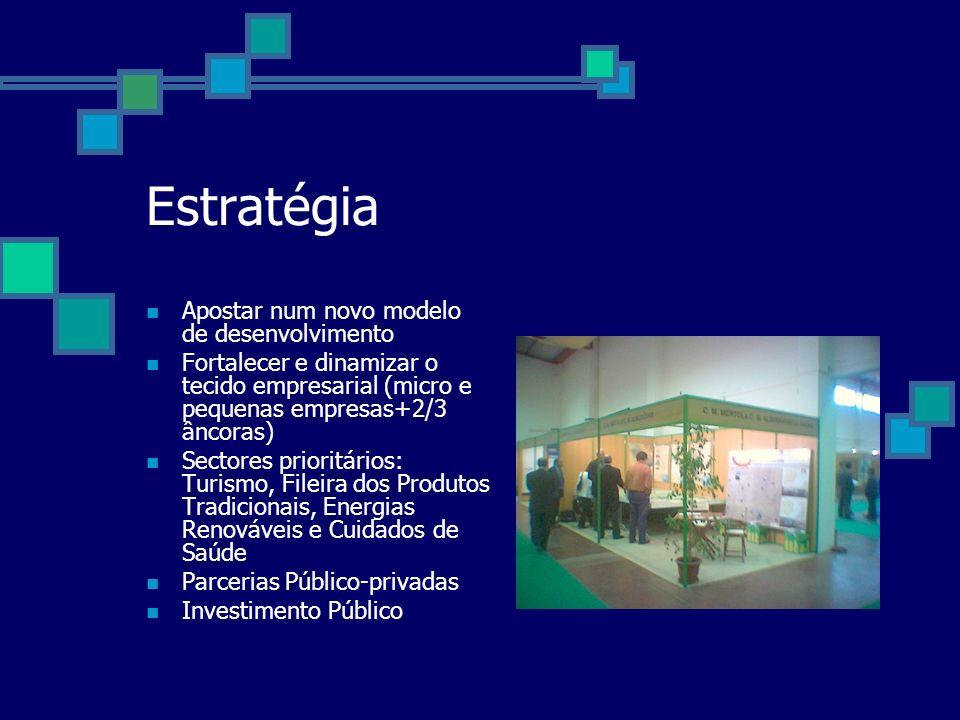 Estratégia Apostar num novo modelo de desenvolvimento Fortalecer e dinamizar o tecido empresarial (micro e pequenas empresas+2/3 âncoras) Sectores prioritários: Turismo, Fileira dos Produtos Tradicionais, Energias Renováveis e Cuidados de Saúde Parcerias Público-privadas Investimento Público