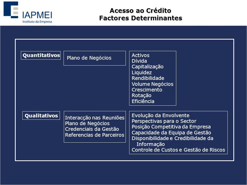 Acesso ao Crédito Factores Determinantes Quantitativos Qualitativos Plano de Negócios Interacção nas Reuniões Plano de Negócios Credenciais da Gestão Referencias de Parceiros Activos Dívida Capitalização Liquidez Rendibilidade Volume Negócios Crescimento Rotação Eficiência Evolução da Envolvente Perspectivas para o Sector Posição Competitiva da Empresa Capacidade da Equipa de Gestão Disponibilidade e Credibilidade da Informação Controle de Custos e Gestão de Riscos