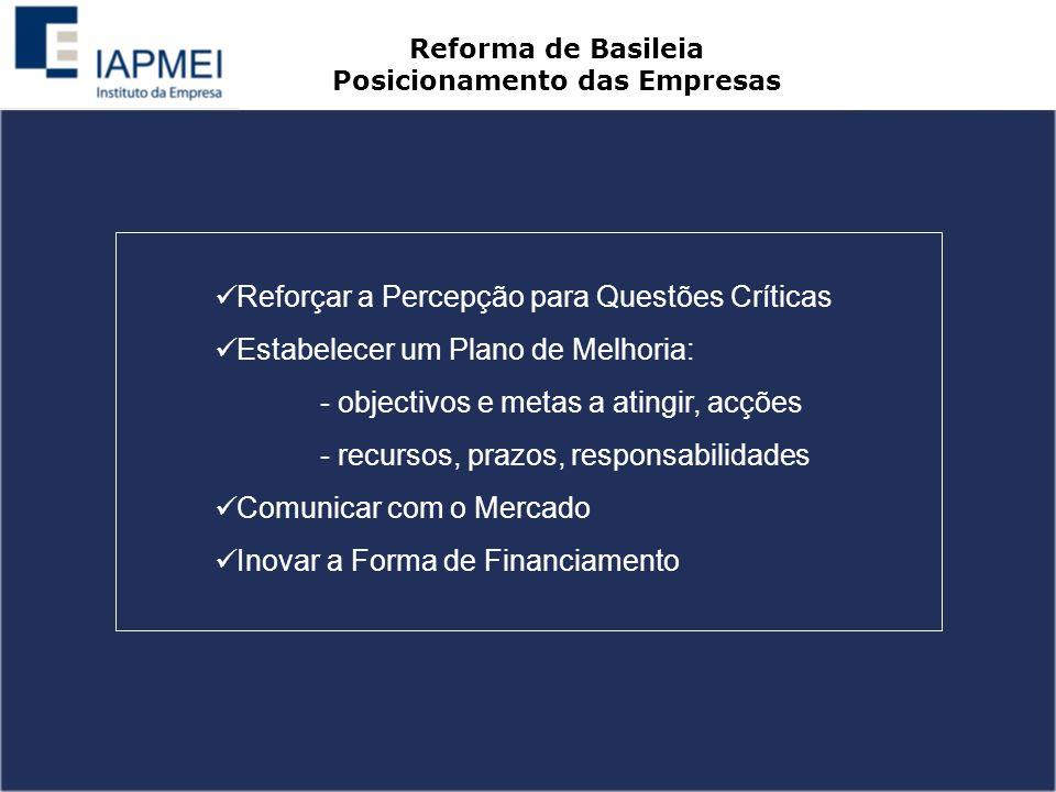 Reforçar a Percepção para Questões Críticas Estabelecer um Plano de Melhoria: - objectivos e metas a atingir, acções - recursos, prazos, responsabilidades Comunicar com o Mercado Inovar a Forma de Financiamento Reforma de Basileia Posicionamento das Empresas