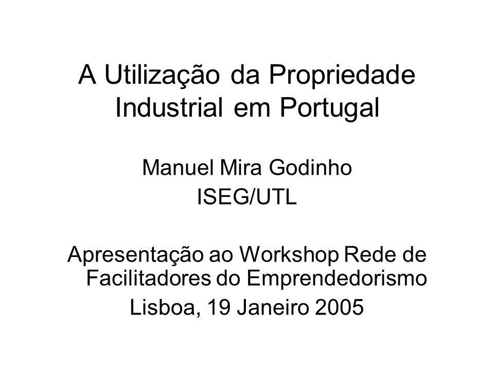 A Utilização da Propriedade Industrial em Portugal Manuel Mira Godinho ISEG/UTL Apresentação ao Workshop Rede de Facilitadores do Emprendedorismo Lisboa, 19 Janeiro 2005