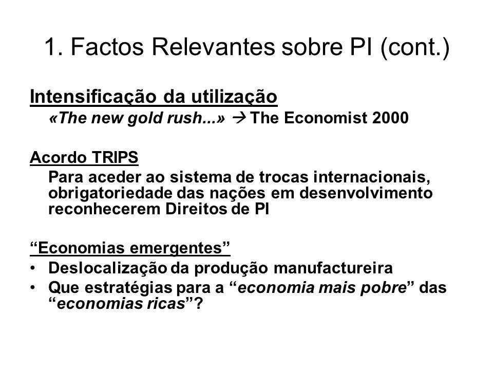 1. Factos Relevantes sobre PI (cont.) Intensificação da utilização «The new gold rush...» The Economist 2000 Acordo TRIPS Para aceder ao sistema de tr