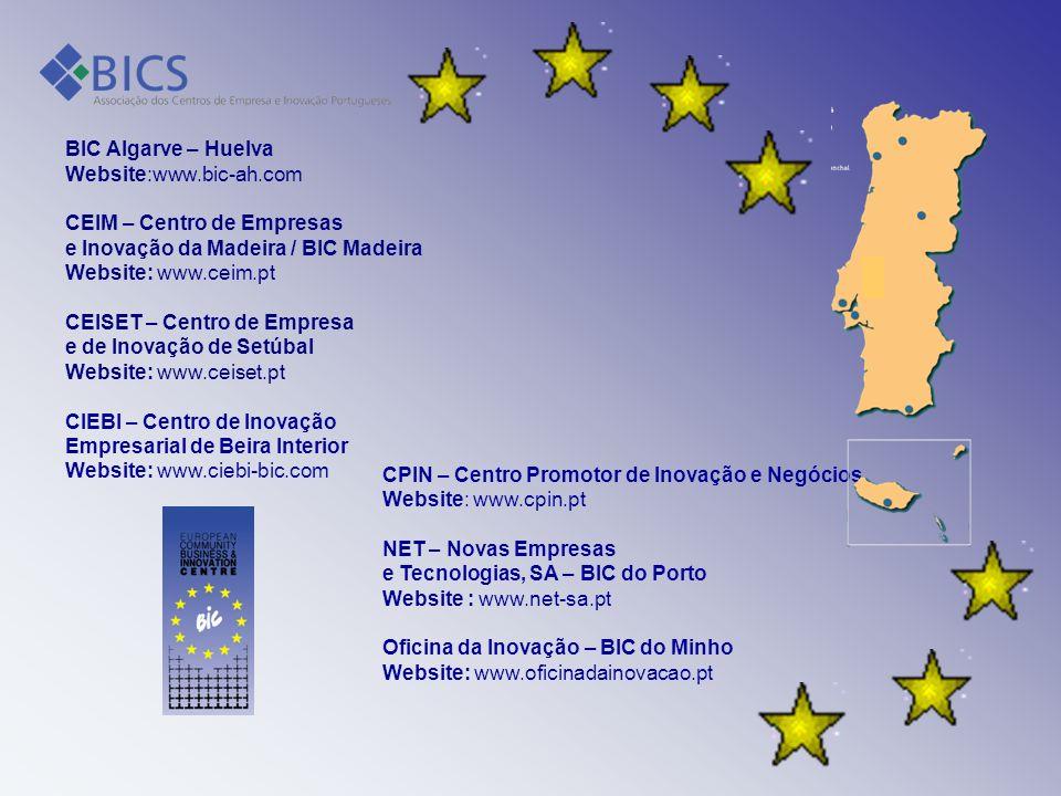 BIC Algarve – Huelva Website:www.bic-ah.com CEIM – Centro de Empresas e Inovação da Madeira / BIC Madeira Website: www.ceim.pt CEISET – Centro de Empr