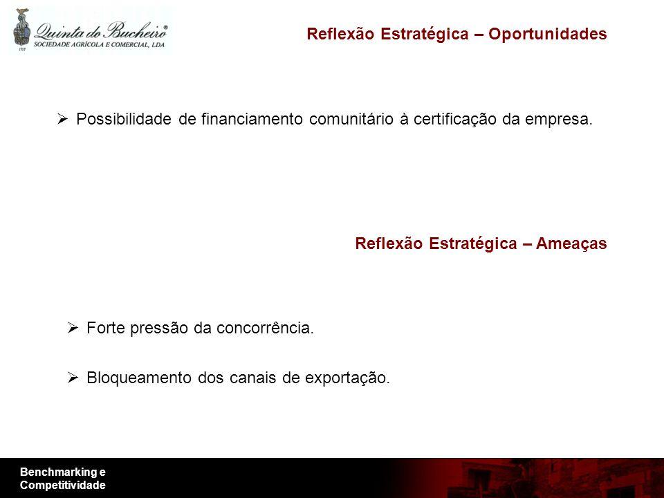 Benchmarking e Competitividade Reflexão Estratégica – Oportunidades Possibilidade de financiamento comunitário à certificação da empresa.