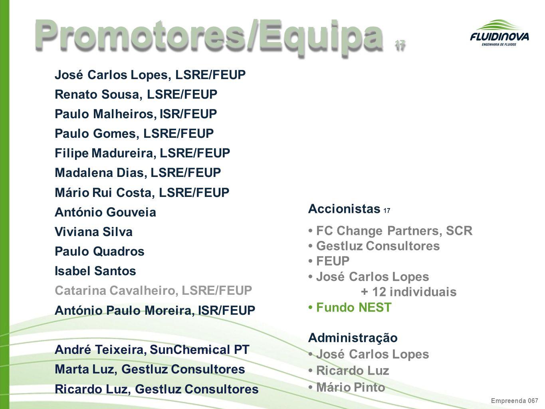 Empreenda 06 7 Promotores /Equipa 17 Accionistas 17 FC Change Partners, SCR Gestluz Consultores FEUP José Carlos Lopes + 12 individuais Fundo NEST Adm