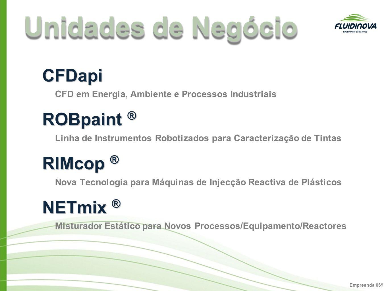 Empreenda 06 9 Unidades de Negócio CFDapi CFD em Energia, Ambiente e Processos Industriais ROBpaint ® Linha de Instrumentos Robotizados para Caracteri