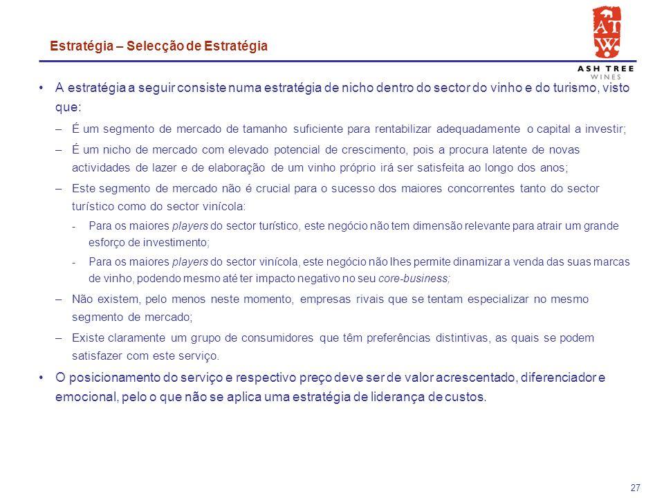 26 Oportunidade de dinamização de oferta turística (hoteleira e de lazer) como resultado do surgimento de novos turistas na zona, o que potenciará mais o negócio da VinhoMeu; Aproveitamento de apoios ao investimento em áreas geográficas deprimidas, como é o caso do distrito de Bragança; Potencial envolvimento de entidades municipais na criação de estruturas e de divulgação do negócio; Crescimento da procura de actividades de lazer por parte da população em geral, especialmente de actividades de lazer em família; Ambição que muitas pessoas têm de poderem fazer o seu próprio vinho; Aumento do receio de viajar de avião incentiva o turismo nacional.