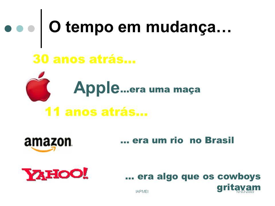 10-03-2005IAPMEI O tempo em mudança… Apple …era uma maça… era algo que os cowboys gritavam 30 anos atrás… 11 anos atrás… … era um rio no Brasil