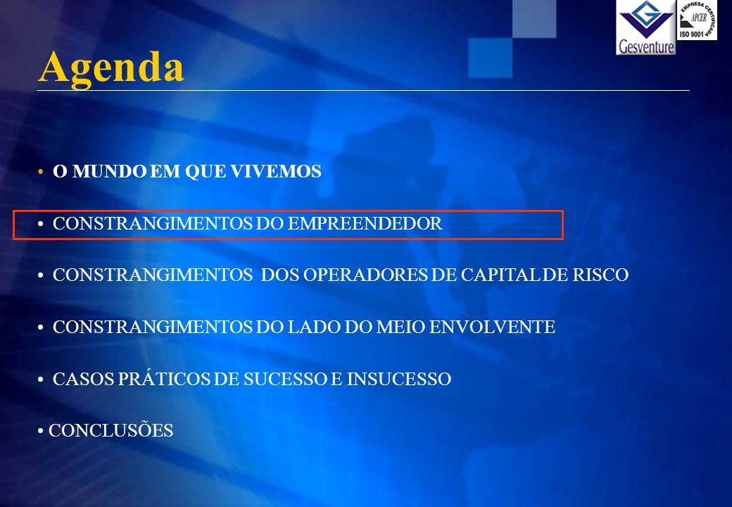 Agenda O MUNDO EM QUE VIVEMOS CONSTRANGIMENTOS DO EMPREENDEDOR CONSTRANGIMENTOS DOS OPERADORES DE CAPITAL DE RISCO CONSTRANGIMENTOS DO LADO DO MEIO EN