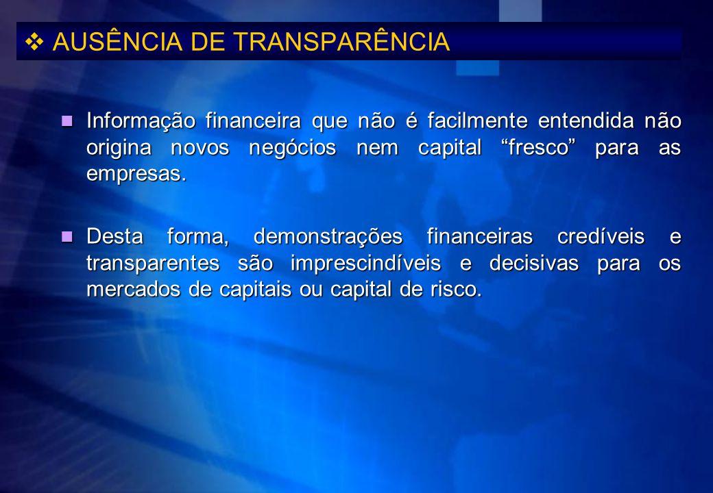 AUSÊNCIA DE TRANSPARÊNCIA Informação financeira que não é facilmente entendida não origina novos negócios nem capital fresco para as empresas. Informa