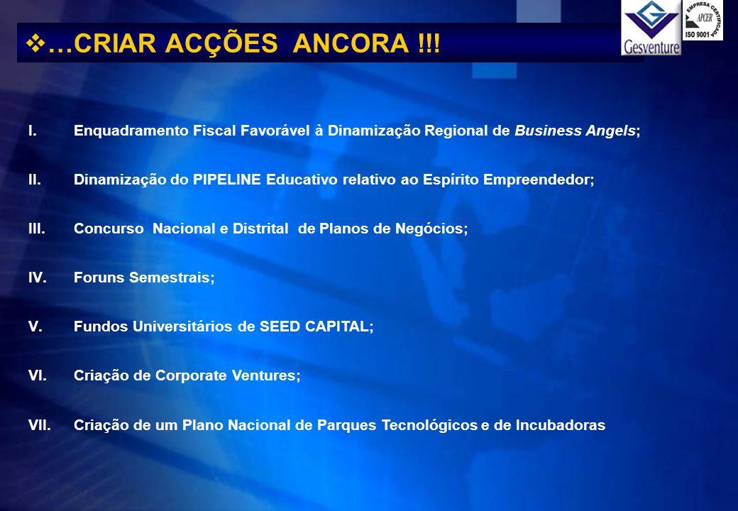 …CRIAR ACÇÕES ANCORA !!! I.Enquadramento Fiscal Favorável à Dinamização Regional de Business Angels; II.Dinamização do PIPELINE Educativo relativo ao