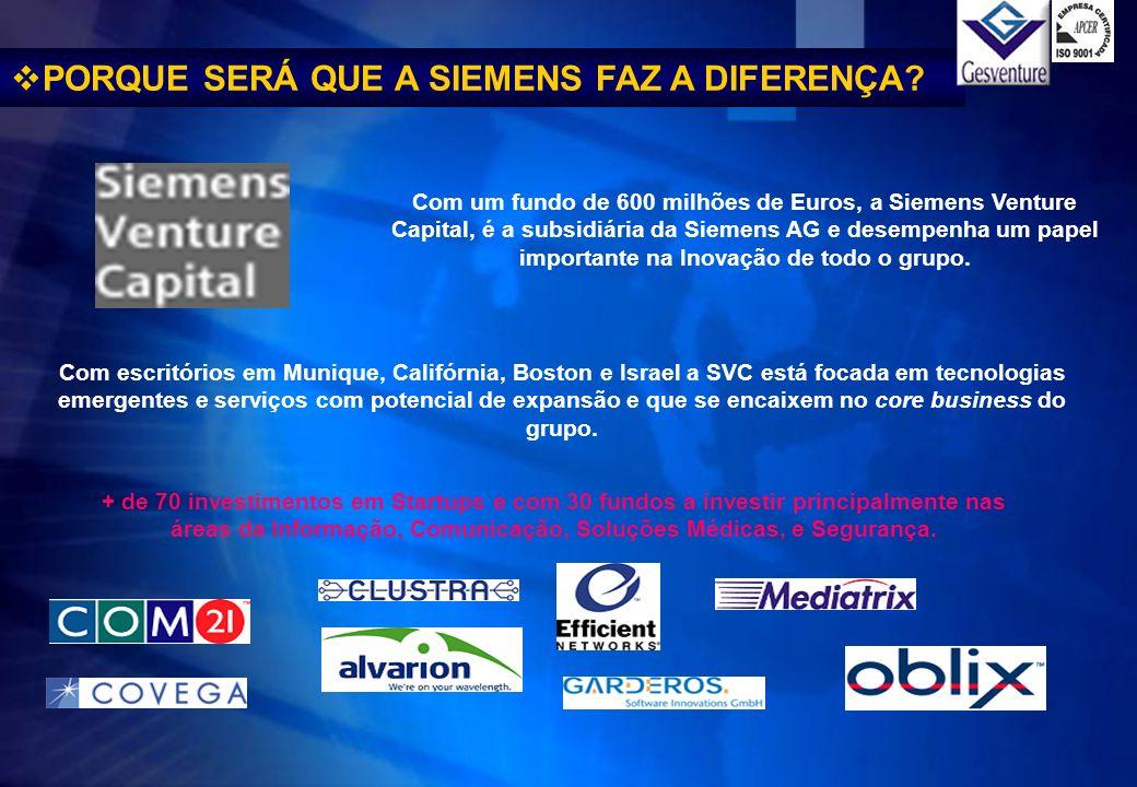 PORQUE SERÁ QUE A SIEMENS FAZ A DIFERENÇA? Com um fundo de 600 milhões de Euros, a Siemens Venture Capital, é a subsidiária da Siemens AG e desempenha