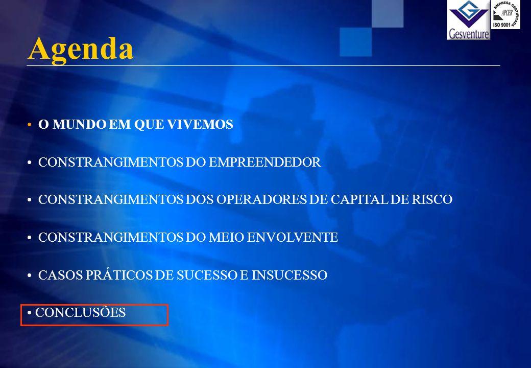 Agenda O MUNDO EM QUE VIVEMOS CONSTRANGIMENTOS DO EMPREENDEDOR CONSTRANGIMENTOS DOS OPERADORES DE CAPITAL DE RISCO CONSTRANGIMENTOS DO MEIO ENVOLVENTE