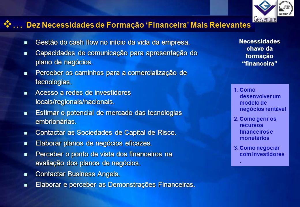 … Dez Necessidades de Formação Financeira Mais Relevantes Gestão do cash flow no início da vida da empresa. Gestão do cash flow no início da vida da e