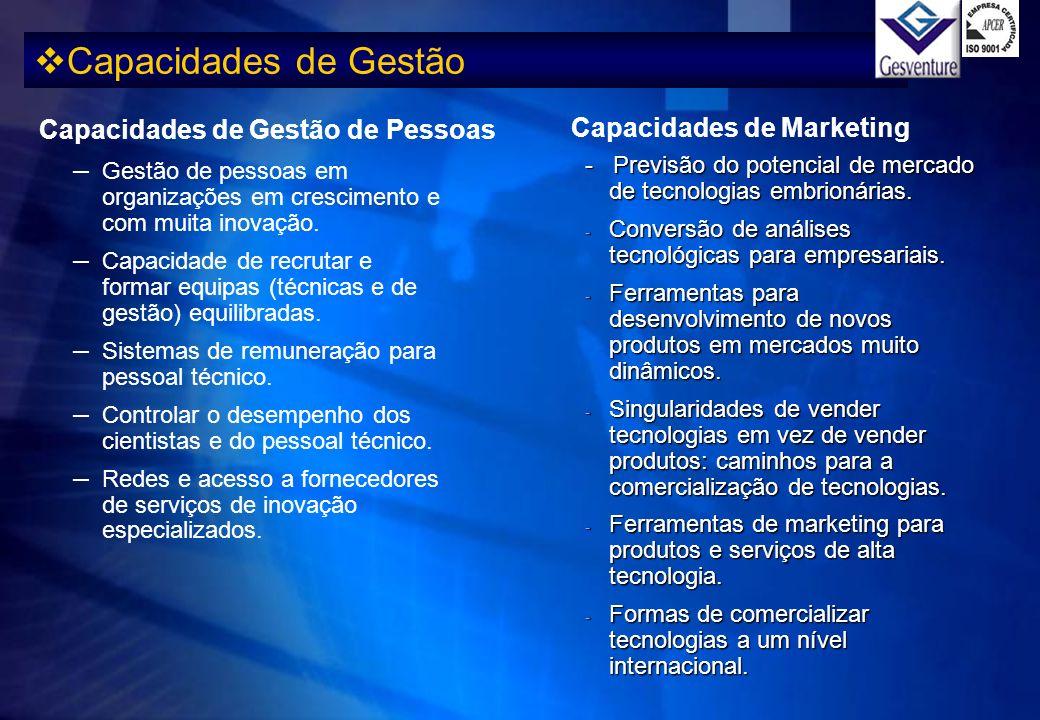 Capacidades de Gestão - Previsão do potencial de mercado de tecnologias embrionárias. - Conversão de análises tecnológicas para empresariais. - Ferram