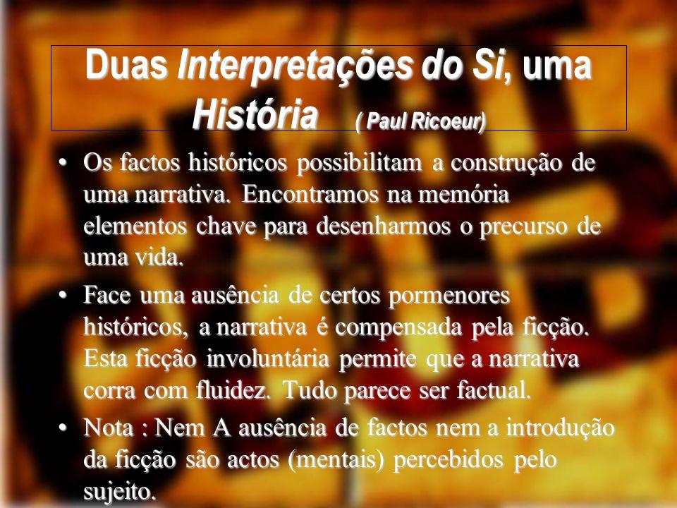 Duas Interpretações do Si, uma História ( Paul Ricoeur) Esta Narrativa possibilita o Conhecimento do Si/Self.Esta Narrativa possibilita o Conhecimento do Si/Self.