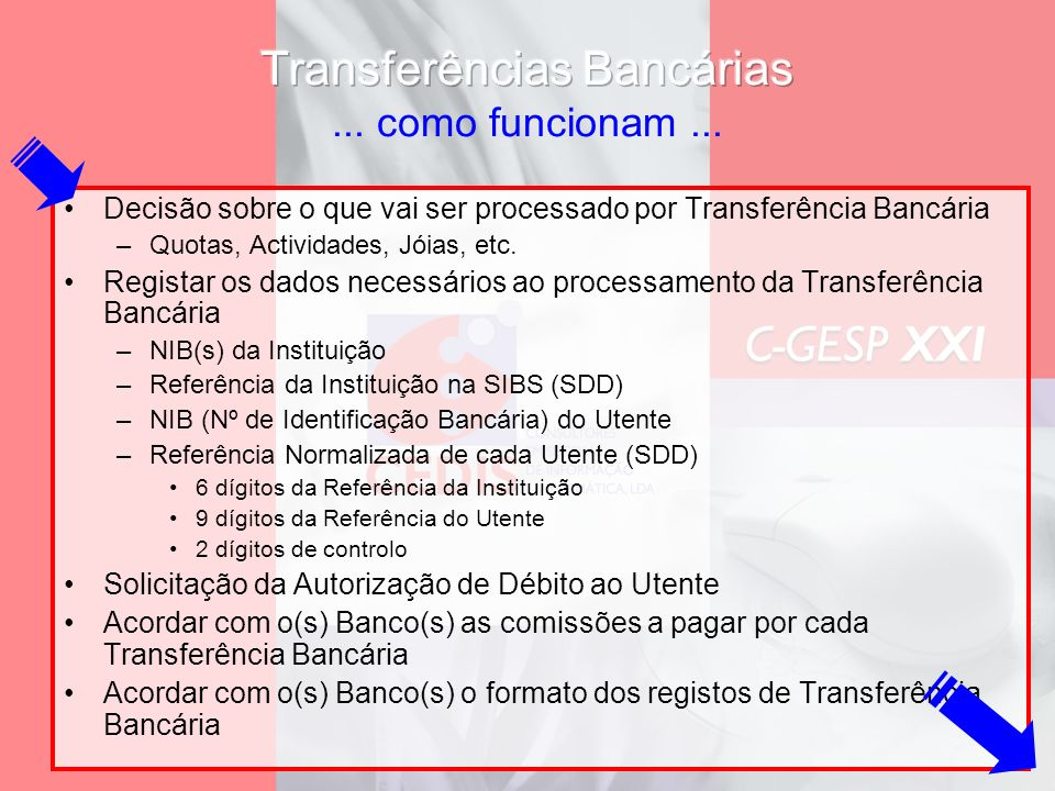 Decisão sobre o que vai ser processado por Transferência Bancária –Quotas, Actividades, Jóias, etc. Registar os dados necessários ao processamento da