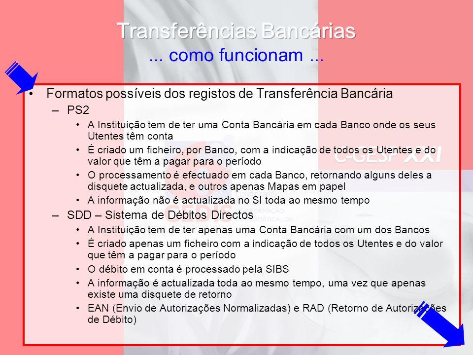 Formatos possíveis dos registos de Transferência Bancária –PS2 A Instituição tem de ter uma Conta Bancária em cada Banco onde os seus Utentes têm cont