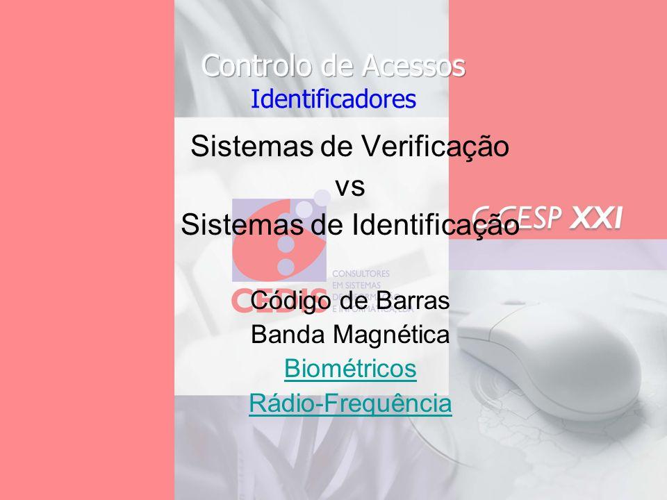Sistemas de Verificação vs Sistemas de Identificação Código de Barras Banda Magnética Biométricos Rádio-Frequência
