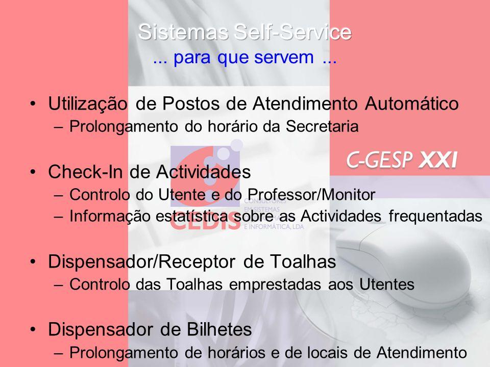 Utilização de Postos de Atendimento Automático –Prolongamento do horário da Secretaria Check-In de Actividades –Controlo do Utente e do Professor/Moni