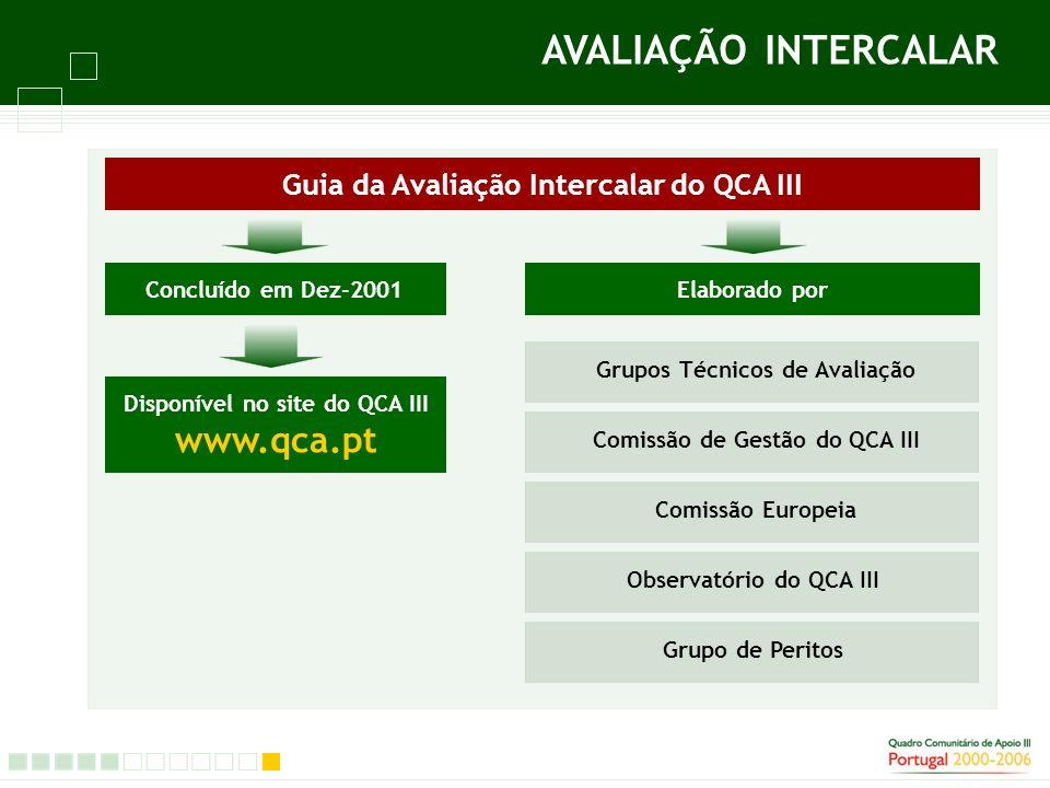 Guia da Avaliação Intercalar do QCA III AVALIAÇÃO INTERCALAR Concluído em Dez-2001 Disponível no site do QCA III www.qca.pt Elaborado por Comissão de Gestão do QCA III Grupos Técnicos de Avaliação Comissão Europeia Observatório do QCA III Grupo de Peritos