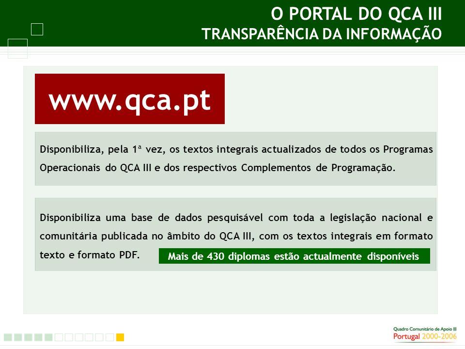 O PORTAL DO QCA III TRANSPARÊNCIA DA INFORMAÇÃO Disponibiliza, pela 1ª vez, os textos integrais actualizados de todos os Programas Operacionais do QCA III e dos respectivos Complementos de Programação.
