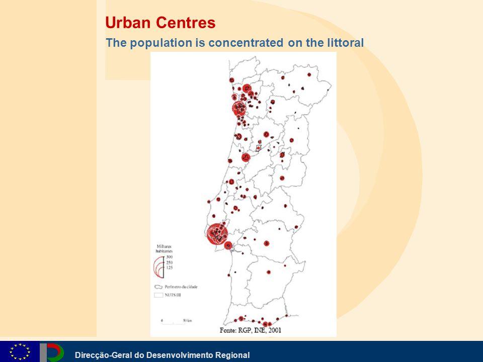 Direcção-Geral do Desenvolvimento Regional Urban Centres The population is concentrated on the littoral