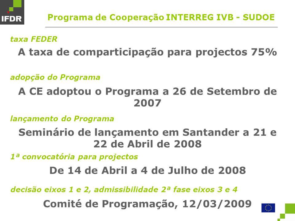 taxa FEDER A taxa de comparticipação para projectos 75% lançamento do Programa Seminário de lançamento em Santander a 21 e 22 de Abril de 2008 adopção do Programa A CE adoptou o Programa a 26 de Setembro de 2007 decisão eixos 1 e 2, admissibilidade 2ª fase eixos 3 e 4 Comité de Programação, 12/03/2009 1ª convocatória para projectos De 14 de Abril a 4 de Julho de 2008 Programa de Cooperação INTERREG IVB - SUDOE