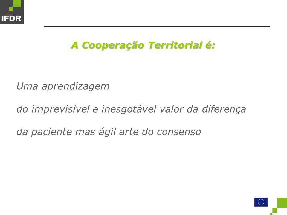 Modalidades de cooperação Cooperação transfronteiriça Desenvolvimento regional equilibrado entre regiões fronteiriças vizinhas Cooperação transnacional Integração territorial equilibrada em toda a Comunidade Cooperação inter-regional Redes de desenvolvimento regional e coesão em toda a Comunidade Cooperação Territorial Europeia 2007 – 2013