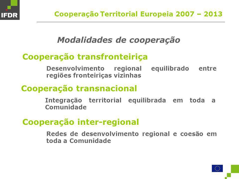 Programas de Cooperação Territorial Europeia 2007 – 2013 (participação nacional) Transfronteiriça Transnacional Inter-regional PO de Cooperação Transfronteiriça Portugal – Espanha (P E) PO de Cooperação Transfronteiriça ENPI (P E F RU I G CY M SL) PO Espaço Atlântico (P E F RU IR) PO SUDOE (P E F RU) PO MED (P E F RU I G CY M SL) PO Açores – Madeira – Canárias (P E) PO INTERREG IVC PO INTERACT II PO URBACT II PO ESPON 2013