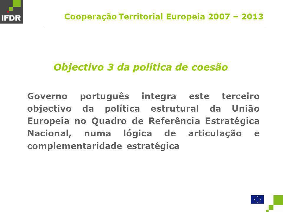 Identificação dos organismos envolvidos Cooperação Territorial Europeia 2007 – 2013