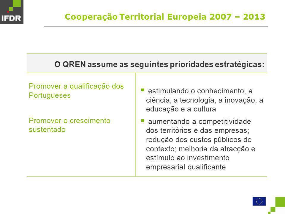 Cooperação Territorial Europeia 2007 – 2013 O QREN assume as seguintes prioridades estratégicas: Garantir a coesão social promovendo o emprego; reforço da empregabilidade e do empreendorismo; melhoria da qualificação escolar e profissional; desenvolver carácter inclusivo do mercado de trabalho; promover práticas de cidadania inclusiva; reabilitação e inserção social; valorização da saúde como factor de produtividade e medida de inclusão social