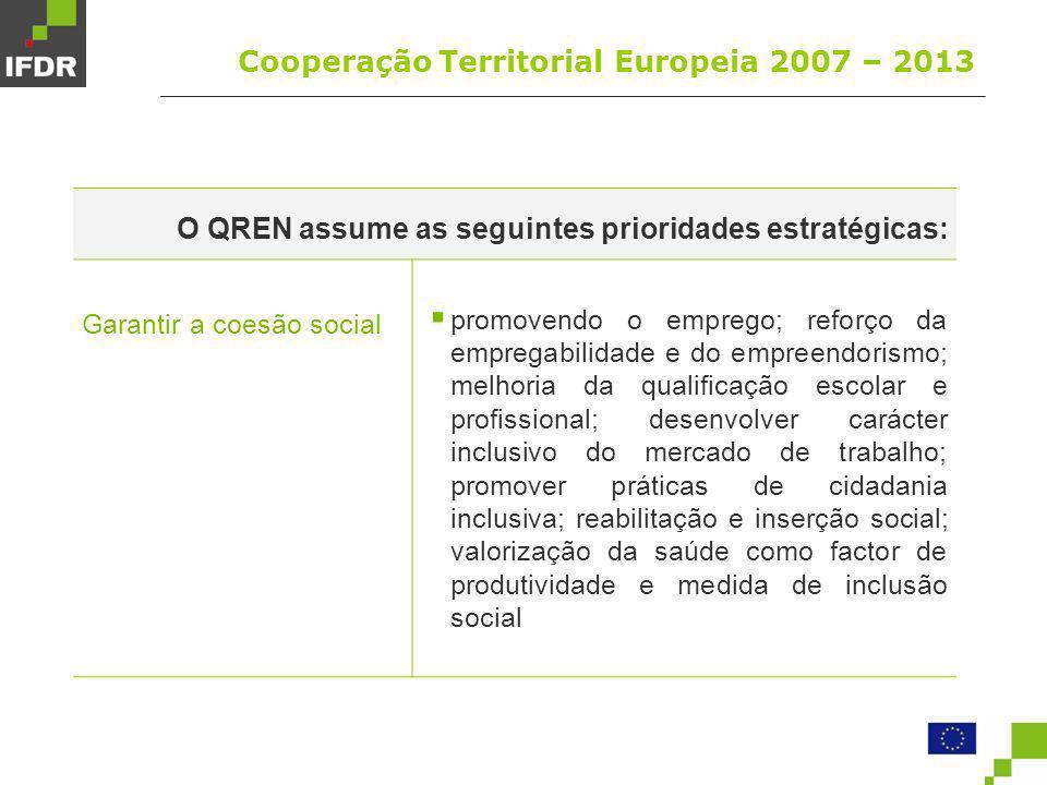 Factores críticos de sucesso Cooperação Territorial Europeia 2007 – 2013