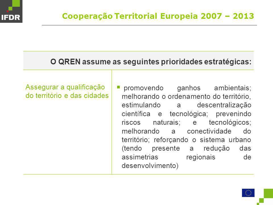 Cooperação Territorial Europeia 2007 – 2013 A consagração das prioridades estratégias e princípios concretiza-se pelo estabelecimento de (3) Agendas Operacionais Temáticas