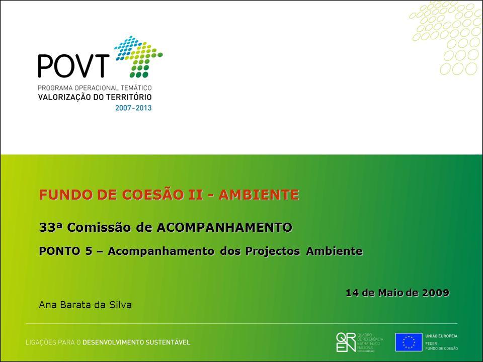 FUNDO DE COESÃO II - AMBIENTE 33ª Comissão de ACOMPANHAMENTO PONTO 5 – Acompanhamento dos Projectos Ambiente 14 de Maio de 2009 Ana Barata da Silva