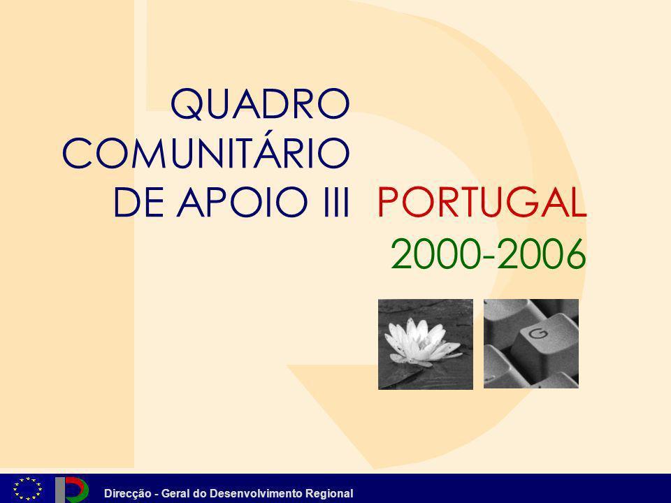 Direcção - Geral do Desenvolvimento Regional QCA III 2000 - 2006 Financiamento Comunitário Alterar o Perfil Produtivo em Direcção às Actividades do Futuro EIXO 2 4.367 Milhões de Euros Agricultura e Desenvolvi- mento Rural 1.349 ME Pescas 184 ME Economia 2.833 ME