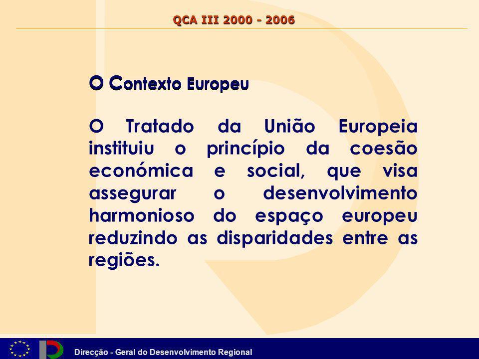 Direcção - Geral do Desenvolvimento Regional QCA III 2000 - 2006 O C ontexto Europeu O Tratado da União Europeia instituiu o princípio da coesão econó