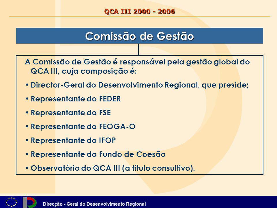 Direcção - Geral do Desenvolvimento Regional QCA III 2000 - 2006 A Comissão de Gestão é responsável pela gestão global do QCA III, cuja composição é: